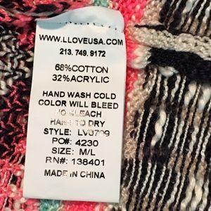 LLove Sweaters - LLove Open Front Neon Pink Aztec Print Cardigan